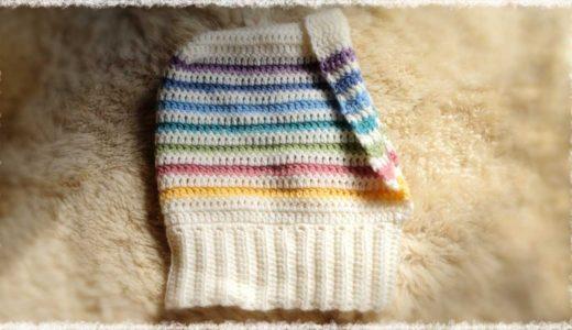 七色フード付きネックウォーマー【かぎ編み】の編み方♪