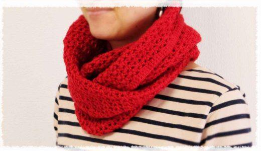 V字ステッチ・スヌードの編み方・作り方/かぎ針編み