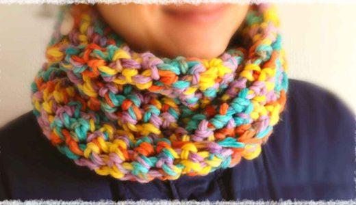 メビウス編みのかぎ編みスヌード